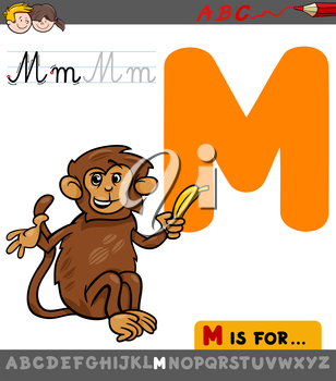 Educational Cartoon Illustration of Letter M from Alphabet with Monkey Animal Character for Children