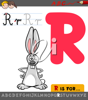 Educational Cartoon Illustration of Letter R from Alphabet with Rabbit Animal Character for Children