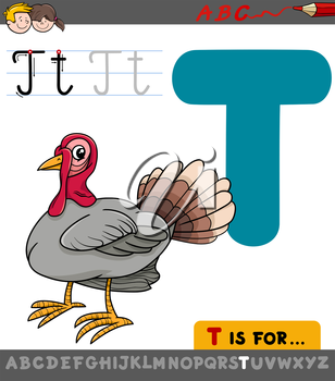 Educational Cartoon Illustration of Letter T from Alphabet with Turkey Bird for Children