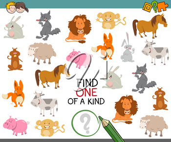Cartoon Illustration of Find One of a Kind Educational Activity Game for Preschool Kids with Animals