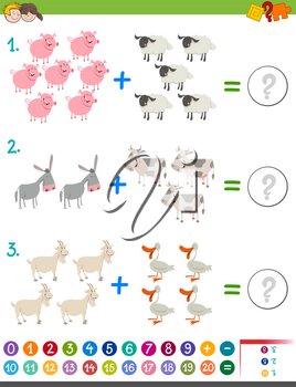 Cartoon Illustration of Educational Mathematical Addition Activity Game for Children with Cute Farm Animal Characters