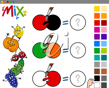 Cartoon Illustration of Mixing Colors Educational Game for Kids