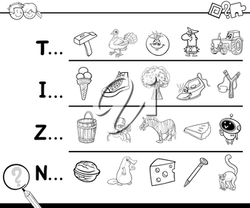 Cartoon Illustration of Finding Picture Starting with Referred Letter Educational Game for Children for Coloring