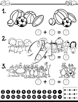 Black and White Cartoon Illustration of Educational Mathematical Activity Game for Children with Funny Characters and Objects Coloring Page