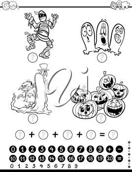 Black and White Cartoon Illustration of Educational Mathematical Activity Game for Children with Object and Vehicle Characters Coloring Page
