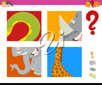 Cartoon Illustration of Educational Game of Guessing Animals for Children