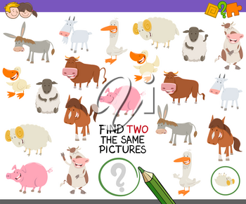 Cartoon Illustration of Finding Two Exactly the Same Pictures Educational Activity for Children with Farm Animal Characters