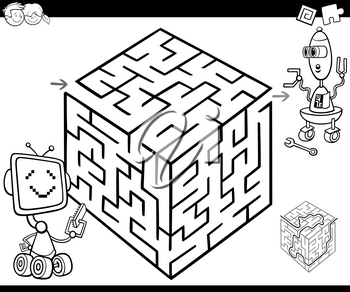Cartoon Illustration of Education Maze or Labyrinth Game for Children with Robot Characters Coloring Page