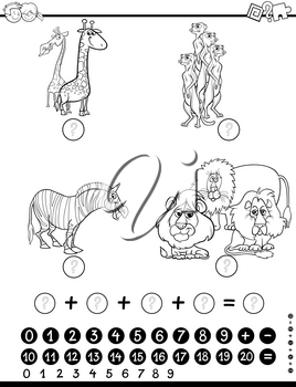 Black and White Cartoon Illustration of Educational Counting Mathematical Activity for Children with Animal Characters Coloring Page