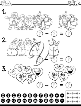 Black and White Cartoon Illustration of Educational Counting and Subtraction Mathematical Activity for Children Coloring Page