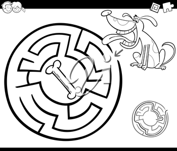 Black and White Cartoon Illustration of Education Maze or Labyrinth Game for Children with Dog and Dog Bone Coloring Page