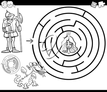 Black and White Cartoon Illustration of Education Maze or Labyrinth Game for Children with Knight and Princess Coloring Page