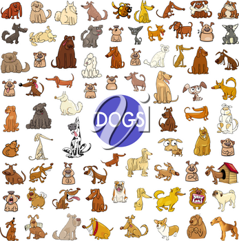 Cartoon Illustration of Dogs Pet Animal Characters Huge Set