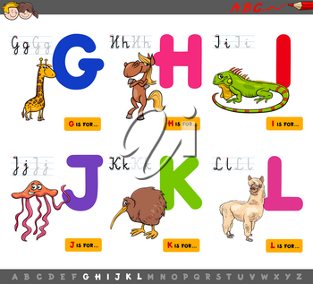 Cartoon Illustration of Capital Letters Alphabet Set with Animal Characters for Reading and Writing Education for Children from G to L