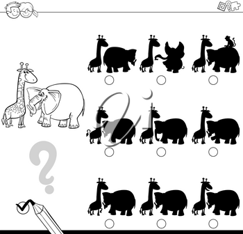 Black and White Cartoon Illustration of Finding the Shadow without Differences Educational Activity for Children with Elephant and Giraffe Safari Animal Characters Coloring Page