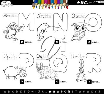 Black and White Cartoon Illustration of Capital Letters Alphabet Set with Animal Characters for Reading and Writing Education for Children from M to R Coloring Book