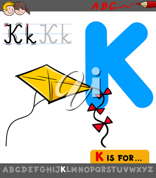 Educational Cartoon Illustration of Letter K from Alphabet with Kite Toy Object for Children
