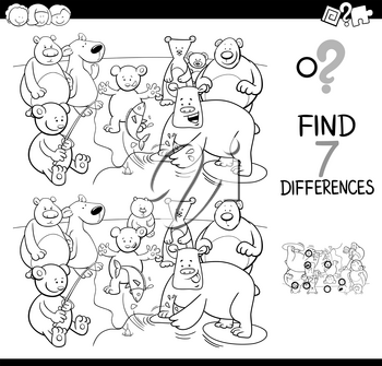 Black and White Cartoon Illustration of Finding Seven Differences Between Pictures Educational Activity Game for Kids with Bears Animal Characters Group Coloring Book