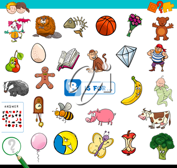 Cartoon Illustration of Finding Picture Starting with Letter B Educational Game Workbook for Children