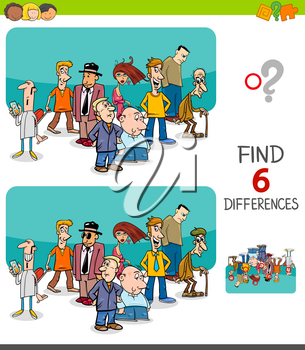 Cartoon Illustration of Finding Six Differences Between Pictures Educational Game for Kids with People Characters Group