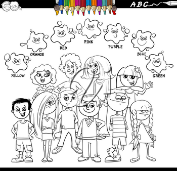 Black and White Cartoon Illustration of Basic Colors Educational Worksheet for Kids with Happy Children Characters Coloring Book