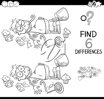 Black and White Cartoon Illustration of Spot the Differences Educational Activity Game for Children with Kid in a Candy Store Coloring Book