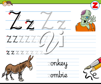 Cartoon Illustration of Writing Skills Practice with Letter Z Worksheet for Preschool and Elementary Age Children