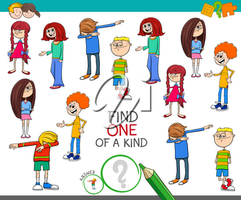Cartoon Illustration of Find One of a Kind Picture Educational Activity Game with Kids and Teenager Characters