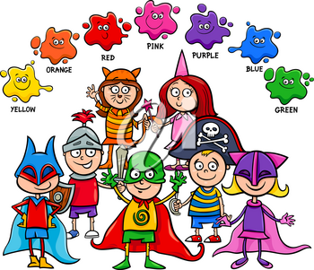 Cartoon Illustration of Primary Basic Colors Educational Activity for Children with Kid Characters at the Mask Ball