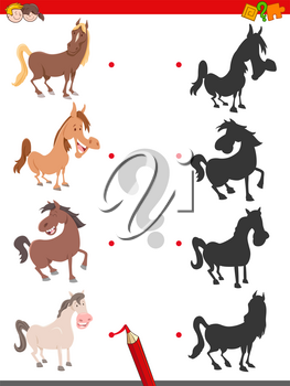 Cartoon Illustration of Join the Right Shadows with Pictures Educational Game for Children with Farm Horse Characters