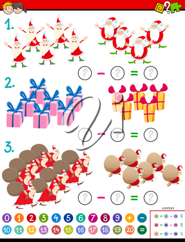 Cartoon Illustration of Educational Mathematical Addition Puzzle Task for Children with Christmas Characters