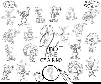 Black and White Cartoon Illustration of Find One of a Kind Picture Educational Activity Game for Children with Clown Characters Coloring Book