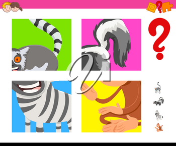 Cartoon Illustration of Educational Game of Guessing Animals Species for Kids