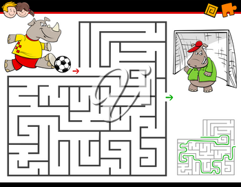 Cartoon Illustration of Education Maze or Labyrinth Activity Game for Children with Rhino Playing Soccer