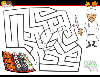 Cartoon Illustration of Education Maze or Labyrinth Activity Game for Children with Chef Character and Sushi