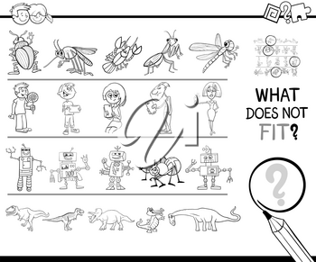 Black and White Cartoon Illustration of Finding Picture that does not Fit with the Rest in a Row Educational Activity with People and Animal Characters Coloring Book
