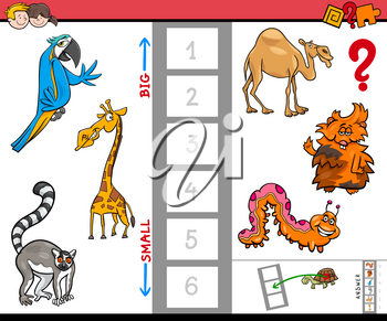 Cartoon Illustration of Educational Activity Game of Finding the Biggest and the Smallest Animal Creature