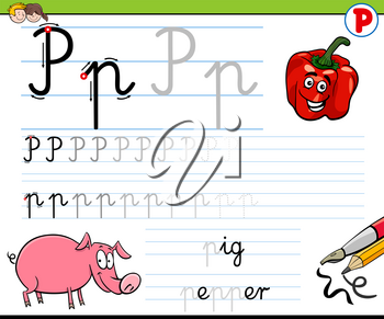 Cartoon Illustration of Writing Skills Practice with Letter P Worksheet for Preschool and Elementary Age Children