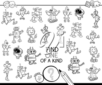 Black and White Cartoon Illustration of Find One of a Kind Educational Activity Game for Children with Robots Comic Characters Coloring Book