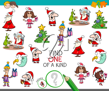 Cartoon Illustration of Find One of a Kind Educational Activity Game for Children with Christmas Characters and Objects