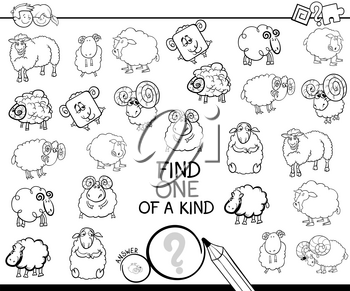 Black and White Cartoon Illustration of Find One of a Kind Picture Educational Activity Game for Children with Sheep Characters Coloring Book