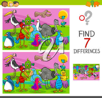 Cartoon Illustration of Searching Differences Between Pictures Educational Activity Game for Children with Colorful Birds Animal Characters Group