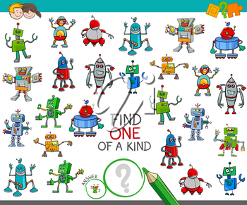 Cartoon Illustration of Find One of a Kind Educational Activity Game for Children with Robots Science Fiction Characters