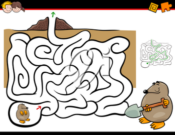 Cartoon Illustration of Education Maze or Labyrinth Activity Game for Children with Mole Animal Character