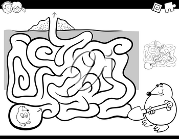 Black and White Cartoon Illustration of Education Maze or Labyrinth Activity Game for Children with Mole Animal Character Coloring Page