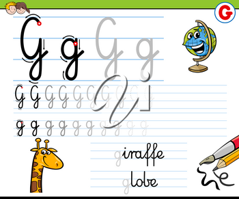 Cartoon Illustration of Writing Skills Practice with Letter G Worksheet for Preschool and Elementary Age Children