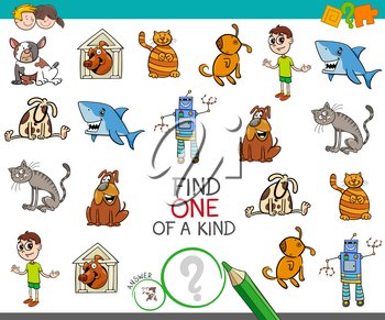 Cartoon Illustration of Find One of a Kind Educational Activity Game for Children with Funny Characters