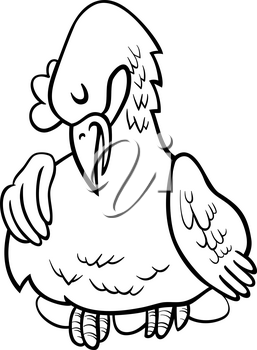 Black and White Cartoon Illustration of Funny Hen on Eggs Animal Character Coloring Book