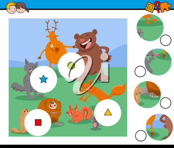 Cartoon Illustration of Educational Match the Pieces Jigsaw Puzzle Game for Children with Animal Characters