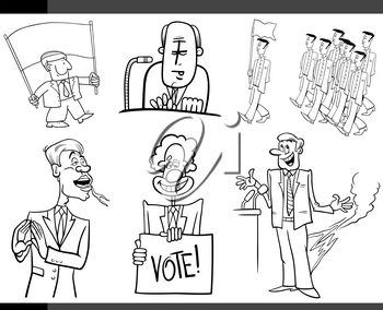 Black and White Set of Humorous Cartoon Concept Illustrations of Politics and Politicians